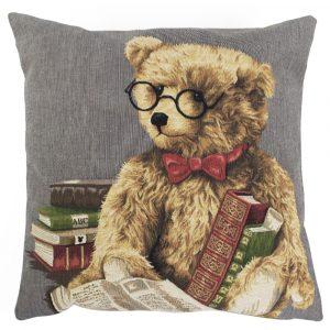 Gobelin Kissen Teddybär Lesen (45 x 45 cm)