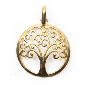 Anhänger Baum des Lebens Messing Gold (25 mm)