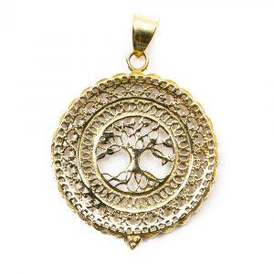Anhänger Baum des Lebens Messing Gold (40 mm)