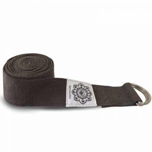 Yoga-Gürtel mit D-Ring aus Baumwolle (270 cm, grau)