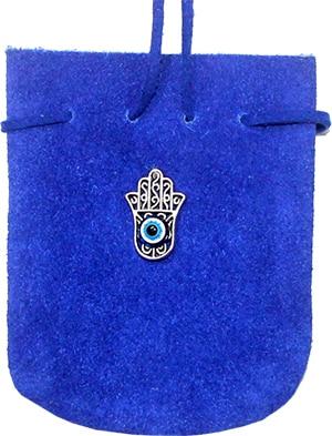 Wildledertasche - Hand von Fatima (kobalt-türkis)