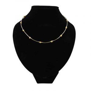 Edelstein Halskette Golden mit Perlenkugeln