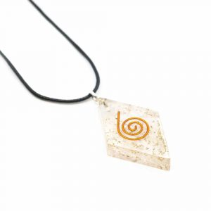 Orgon-Anhänger Selenit-Diamant-Form mit Kupferspirale
