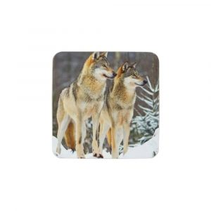 Untersetzer 2 Wölfe (Satz von 6)