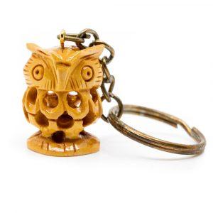 Schlüsselanhänger Holz Eule Handgefertigt (20 mm)