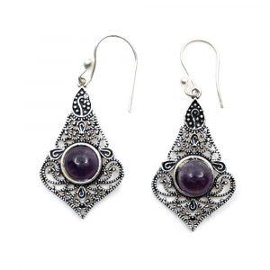 Boho Ohrringe Messing mit Amethyst
