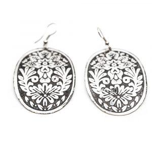 Boho Ohrringe Blumen Scheiben Silber (60 mm)