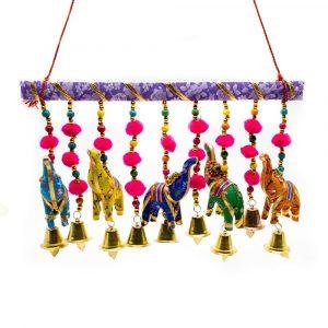 Dekorative Girlande 5 Stoff-Elefanten mit Glocken Horizontal