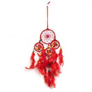 Traumfänger mit roten und bunten Perlen