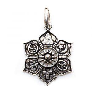 Lotus-Anhänger mit religiösen Symbolen (28 mm)