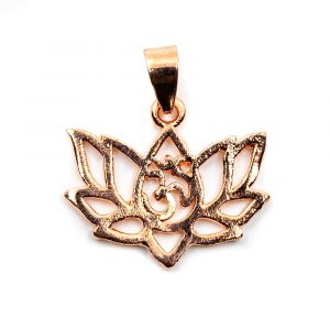 Anhänger OHM Lotus Messing Roségold (20 mm)