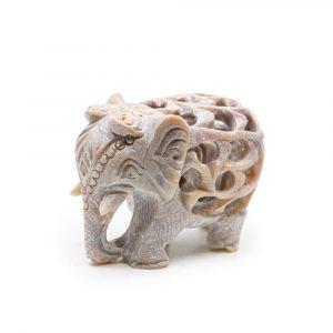 Elefantenstatue Stein mit Baby (60 mm)