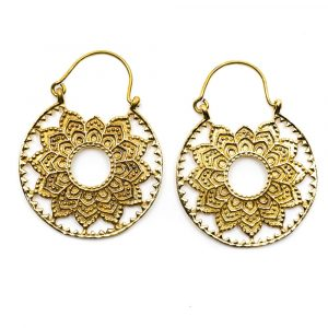 Ohrringe Lotus Mandala Messing Gold Farbe (30 mm)