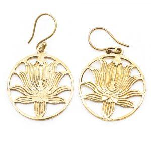 Ohrringe Lotus Messing Gold (30 mm)