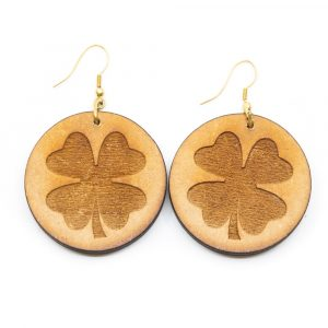 Ohrringe Vierblättriges Kleeblatt Holz