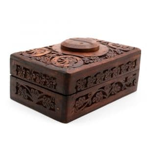 Aufbewahrungsbox Holz Yin & Yang Handgeschnitzt (15 cm)
