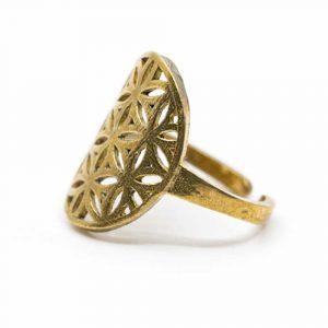 Verstellbarer Ring Blume des Lebens Gold (20 mm)
