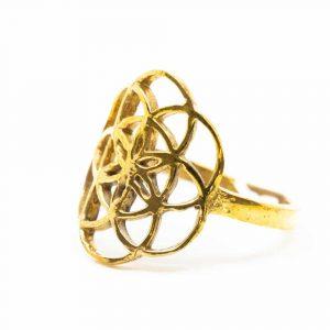 Verstellbarer Ring Blume des Lebens Gold