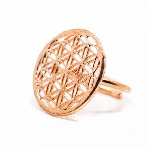 Verstellbarer Ring Flower of Life Kupfer
