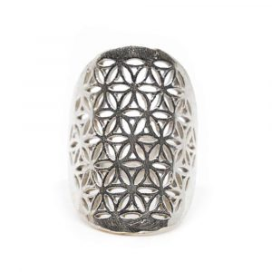 Verstellbarer Ring Blume des Lebens Silber (30 mm)