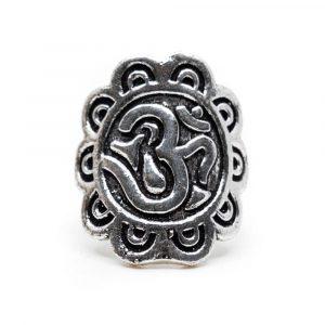 Verstellbarer Ring OM Messing Silber (30 mm)