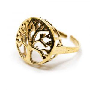 Verstellbarer Ring Baum des Lebens Gold (20 mm)