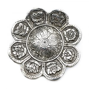 Silberfarbenes Räuchergefäß 8 Glückssymbole (12cm)