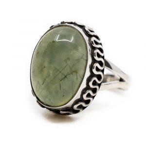 """Edelstein-Ring Prehnit 925 Silber """"Yenra"""" (Größe 17)"""