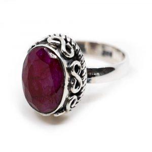 """Edelstein-Ring Rubinquarz 925 Silber """"Amaya"""" (Größe 17)"""