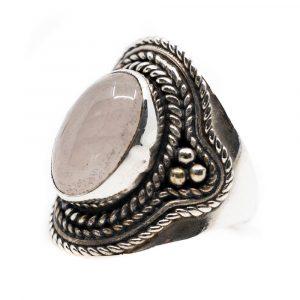 """Edelstein-Ring Rosenquarz 925 Silber """"Elare"""" (Größe 17)"""