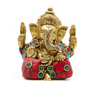 Ganesha Statue Messing bemalt (5 cm)