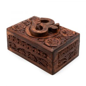 Aufbewahrungsbox Holz OM Handgeschnitzt (15 cm)