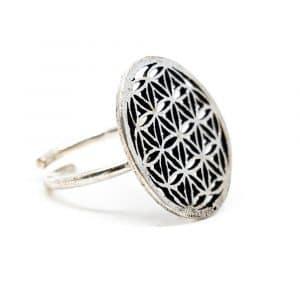 Verstellbarer Ring Blume des Lebens Silber