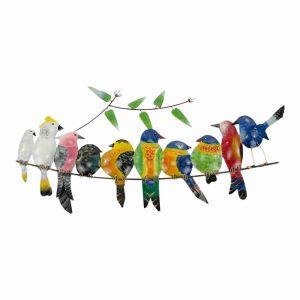 Metall Vögel auf Ast (mehrfarbig)