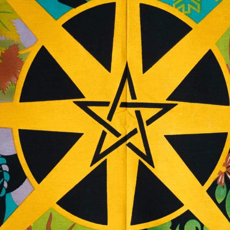 Wandtuch Pentagramm schwarz gelb bunt