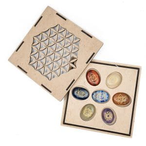 Chakra-Edelsteine Taschensteine Set in Blume des Lebens Aufbewahrungsbox