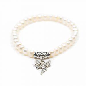 Edelstein-Armband Weiße Kartoffel-Perlen mit Engel
