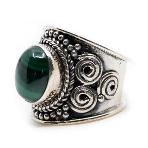 """Edelstein-Ring Malachit 925 Silber """"Mesa"""" (Größe 17)"""