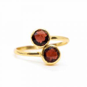 Geburtsstein Ring Granat Januar - 925 Silber - verstellbar