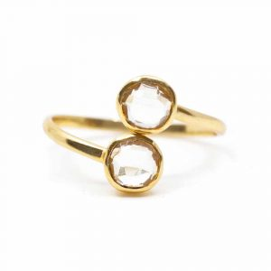 Geburtsstein Ring Bergkristall April - 925 Silber - verstellbar