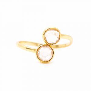 Geburtsstein-Ring Rosenquarz Oktober - 925 Silber - verstellbar