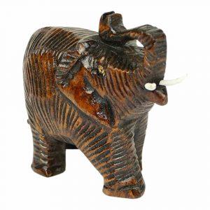 Statue aus Holz Elefanten Gruß Braun (7 x 4 x 3 cm)