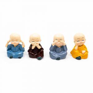 Happy Buddha-Figur Fröhliche Farben - Set von 4 - ca. 6 cm