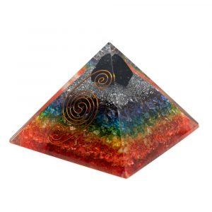 Orgonit-Pyramide 7 Chakra - roher schwarzer Turmalin (90 mm)
