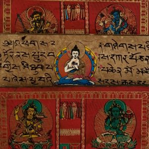 Tibetisches Gebetbuch mit handgemalten Mantras und Buddha's (Modell 1)
