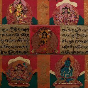 Tibetisches Gebetbuch mit handgemalten Mantras und Buddha's (Modell 2)
