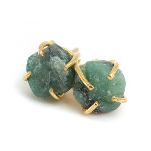 Edelstein-Ohrstecker Roher Smaragd - 925 Silber & vergoldet