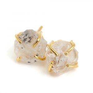 Edelstein-Ohrstecker roher Herkimer Diamant - 925 Silber & vergoldet