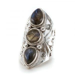 """Edelstein-Ring Labradorit 925 Silber """"Faehsida"""" (Größe 17)"""
