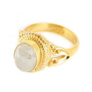 """Edelstein-Ring Mondstein 925 Silber & Gold plattiert """"Vesora"""" (Größe 17)"""